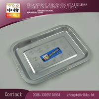 zhongte stainless steel rectangle Mess tray /square plate/home or hotel tray