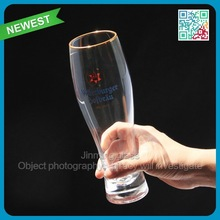 Newest hot sale beer glasses high quality golden ring beer glass cup