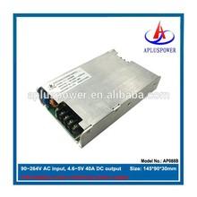 ac to dc power led driver, DC 4.6~5V adjustable 200W, 90~264V AC input, CE