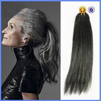 100% Brazilian human hair #51 grey hair weave hair bundles for old women