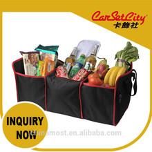 (CS-27985) CarSetCity Foldable Collapsible Folding 3 Layers Cooler Set Foods & Drinks Black Storage Bag 46L Car Truck Organizer