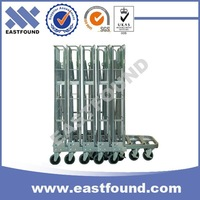Warehouse Storage Transport Folding Wire Mesh Hand Cart With Wheels