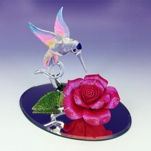 best selling valentines day gifts glass hummingbird rose figurines
