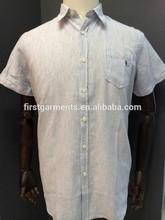 short sleeve man shirt with 55%cotton 45%linen