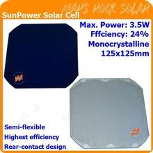 24% Highest efficiency 3.5W SunPower Solar Cell, 125x125mm Monocrystalline Solar Cell