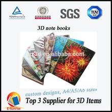 3d notebook/cheap spiral 3d notebooks hot sale/3d lenticular spiral notebooks