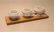 3 pezzi zuppiera ciotola spuntino piatto con bambù stand