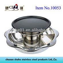 Stainless Steel Dual Storey Shabu Shabu Hot Pot with Grill