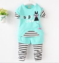 C56233S 2015 summer design printed shirts+pants children sets