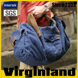 2015 new product Virginland 100% cotton vintage washed canvas duffel bag travel bag travel bag parts