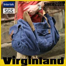 2015 new product Virginland 100% cotton vintage washed canvas duffel bag travel bag caster for bag travel