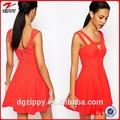 Decote em V e cut out detalhe jovem vestido dama da moda 2015