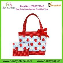 Crianças das meninas pontos vermelhos morangos impressão de Mini sacola e bolsa