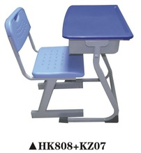 Powerful modern plastic student chair and desk with drawer HK808+KZ07