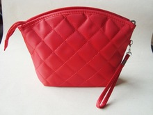 Red diamond pattern lady coin purse with zipper