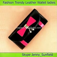 fashion bow pu ladies leather wallet purse clutch bag