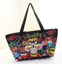 Fashion carton printing big canvas colorful handbag no MOQ wholesale