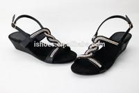 latest fashion weave rhinestone low wedge sandals for women