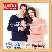 Fashion women men couple pattern 100% cotton couples pajamas/sleepwear set