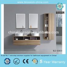 Double sink european style mirrored mdf bathroom vanities