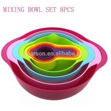 PSKT7012 Measuring Tools Rainbow color Plastic 8pcs Mixing Bowl set,measuring cups/L# ,S# ball bowls /sieve/dish drainer basket