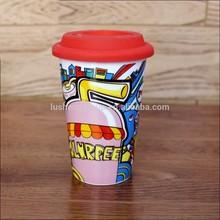 high-quality sublimation ceramic thermo mug logo printing, travel&camping&coffee mug