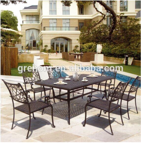 esterno mobili da giardino in ferro battuto antico tavolo e sedie da giardino-Sedie da giardino ...