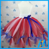 2015 American Flag Patriotic Baby Tutu Dress 4th of July Baby Summer Dress Girls Party Dresses Knee Length Skirts For Girls