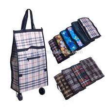 Portable reusable supermarket trolley shopping bag