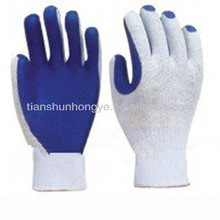 7 guage latex rubber palm coated safety work glove, garden glove