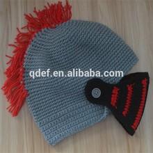 2015 wholesale Crochet knight helmet gray custom baby beanie cap boy hat children hat wholesale