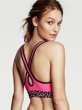 Printed fashionable design yoga sports women sexy nude bra