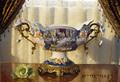 """Antigüedades de lujo francés la decoración del hogar/tradicional de porcelana tazón de fruta con mango de latón& base, 13"""" h"""