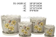 Fancy ceramic painted flower pot customized