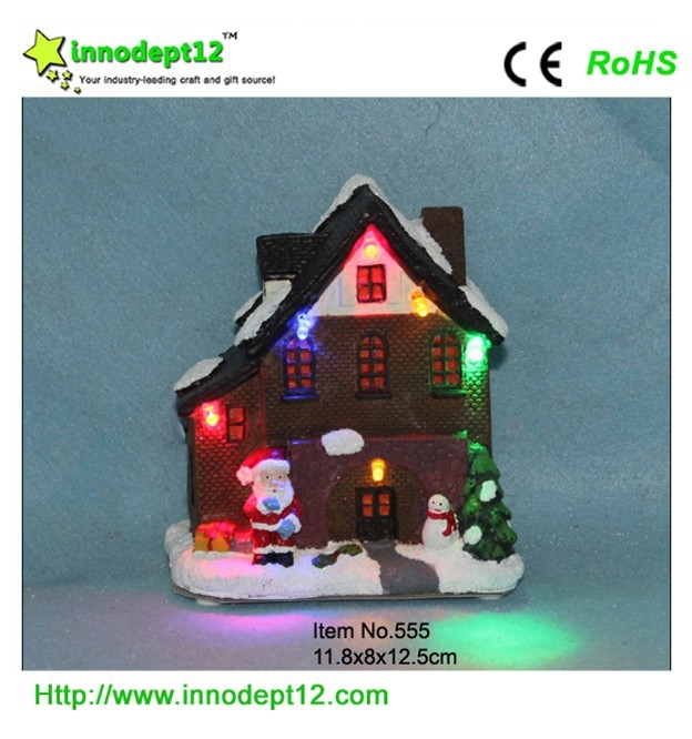 China Christmas decoration supplies, Christmas ornament house with led ...