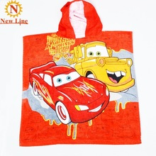 100% cotton x120cm printing car 60 children hooded cloak cotton bath towel