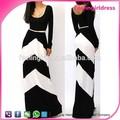 Nuevo estilo de primavera de las señoras de lujo dresss de manga larga franja uno- pieza de vestir