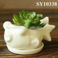 White mini fish shaped ceramic planter pot
