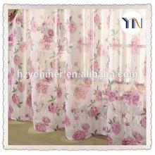 fashion window gauze printed blackout curtain fabric with beautiful flower pattern