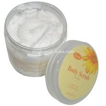 Herbal ingredients gentle body exfoliator with jojoba beads and peppermint essential oil in plastic jar
