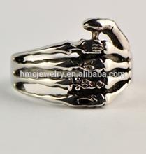 HMC Design R1498 One Hand Five Fingers Skeleton Men Stainless Steel Ring Hip-Hop Jewelry 316L Steel Skull Ring