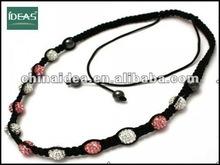 2014 fashion pink and white alloy shamballa ball necklace
