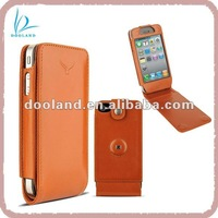 Cow leather flip case cover for apple iphone
