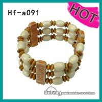 layered beads elasticated wood bracelet&bangle