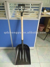 Plastic snow shovel head with long wooden handle