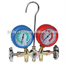 R-134a 2-valve brass manifold 68mm and 80mm gauge optional PR4447