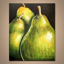 Popular decor fruit still life canvas art painting (green pears)