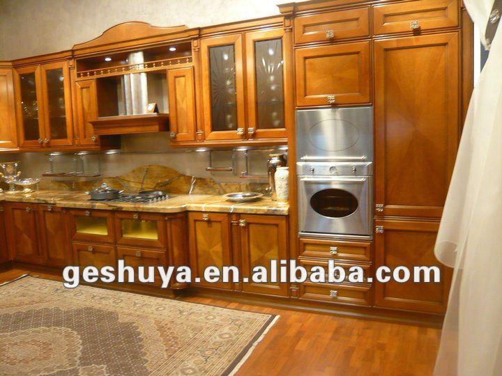Lb jx1108 style am ricain bois massif armoires de cuisine for Modele placard cuisine bois