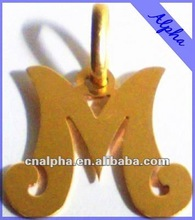 best gold plated stainless steel alphabet M pendant