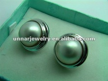 MBEE-003 Round Mabe Sea Pearl Earrings